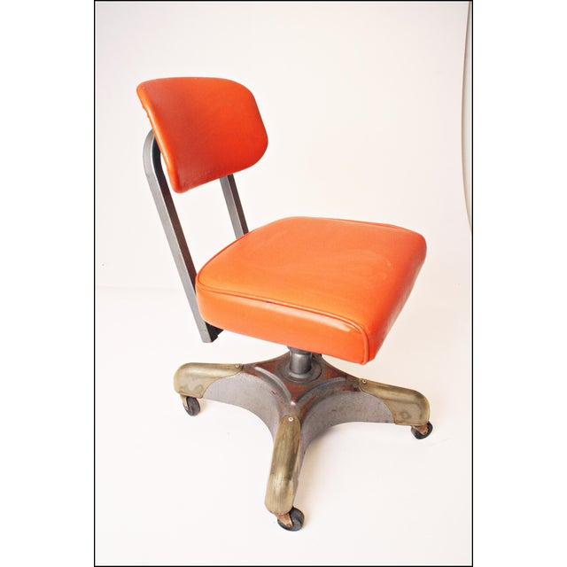 Vintage Orange Industrial Steel Office Chair - Image 6 of 11
