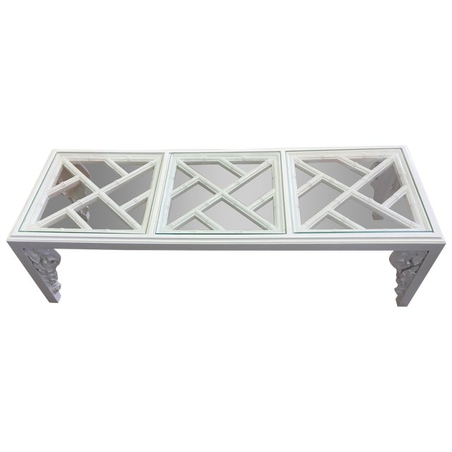 Vintage White Lacquer Elephant Coffee Table - Image 1 of 6