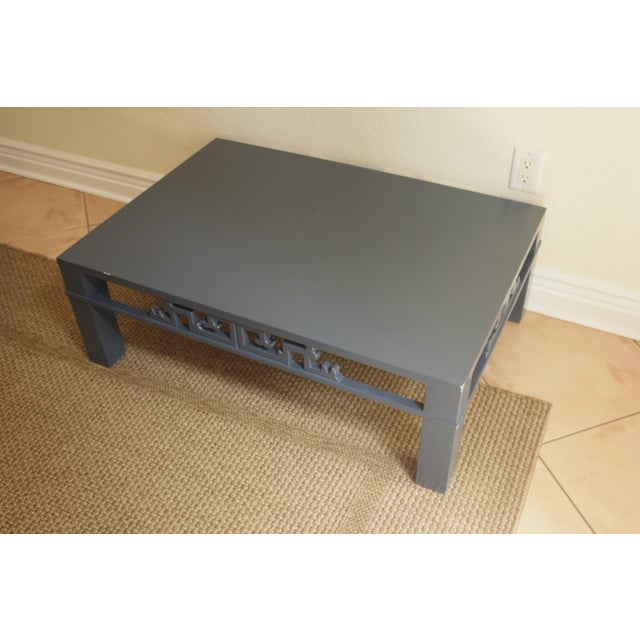 Chinoiserie Navy Blue Wood Carved Low Coffee Table - Image 4 of 8
