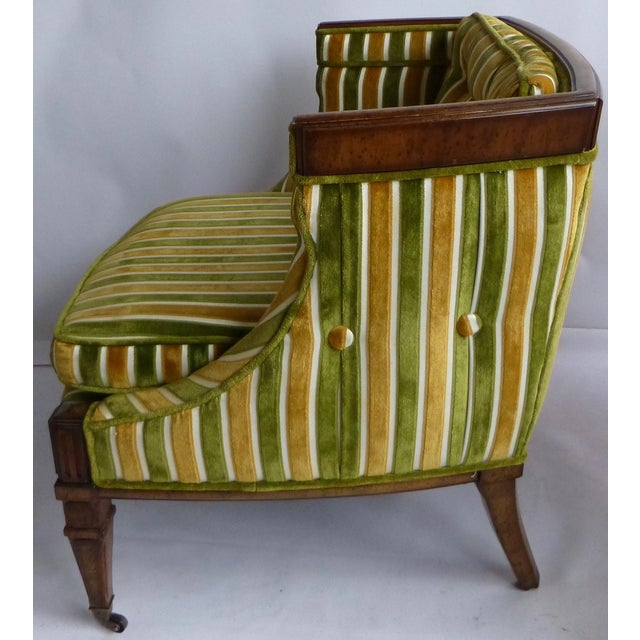 Mid-Century Green & Gold Club Chairs - A Pair - Image 4 of 8