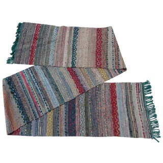 Swedish Hand-Woven Rag Rug - 1′11″ × 13′9″
