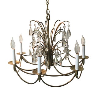 Swedish Mid Century Bronze Waterfall Chandelier
