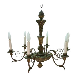Italian Painted Iron & Wood Chandelier