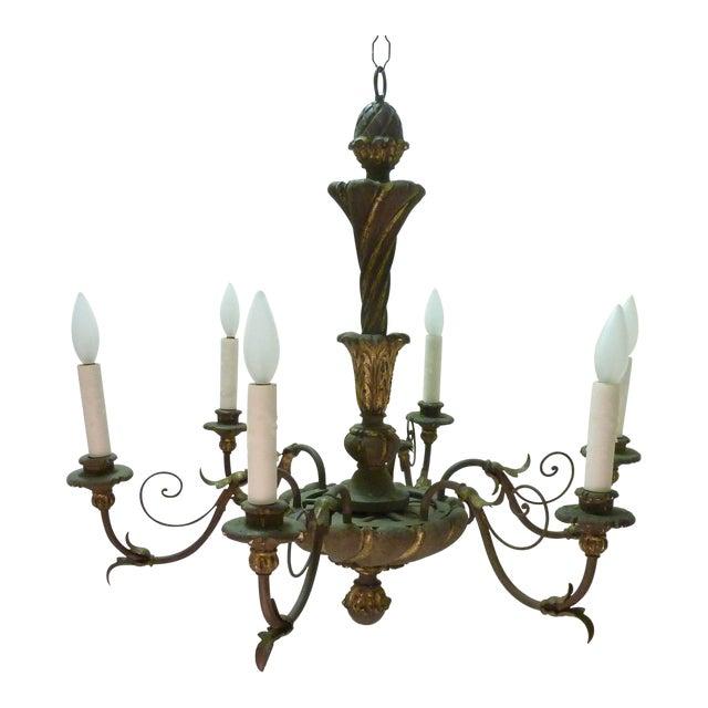 Italian Painted Iron & Wood Chandelier - Image 1 of 8