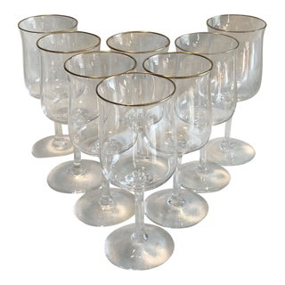 Vintage Lenox Gold Rim Water Stem Crystal Glass - Set of 8