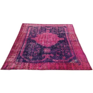 "Purple & Magenta Overdye Turkish Rug - 5'9"" X 8'7"""