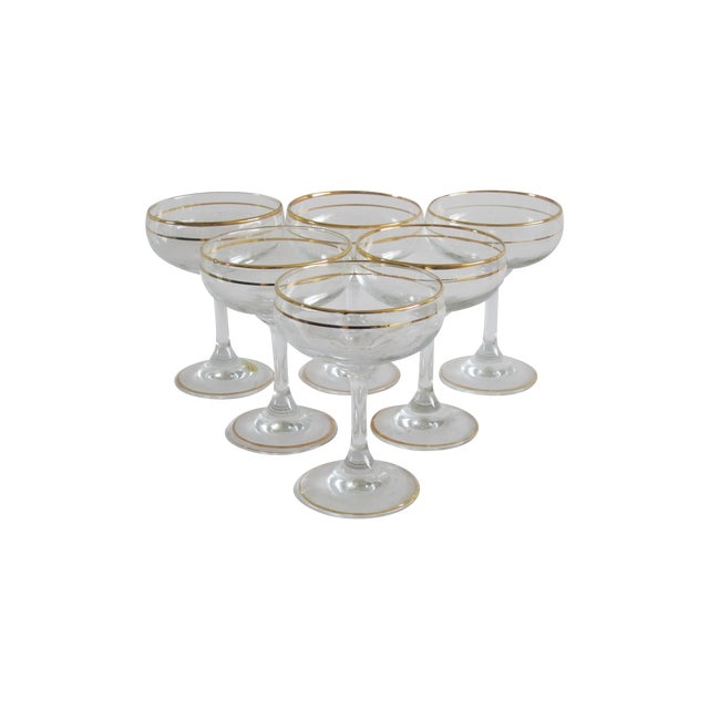 Image of Italian Gilded Champagne Coupes - Set of 6