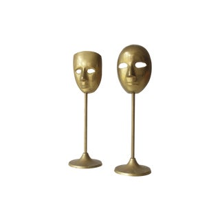 Brass Mask Figurine - A Pair