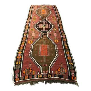 Vintage Anatolian Kars Kilim Rug - 4′5″ × 12′11″
