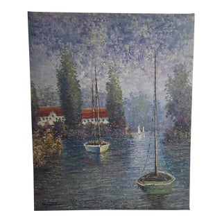 Vintage Sailing Boats on the Lake Oil on Canvas Painting