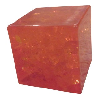 Mid-Century Modern Crackled Lucite Paperweight