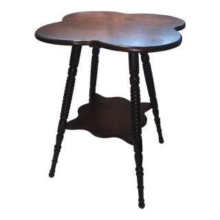 Victorian 4 Leaf Clover Oak Table & Shelf