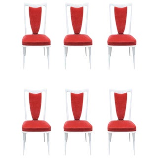 Beautiful set of 6 French Art Deco Snow White dining chairs, circa 1940s.