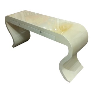 Lacquered Goat Skin Console Table