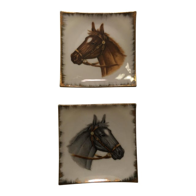 Image of Vintage Empress China Horse Head Dishes - Pair