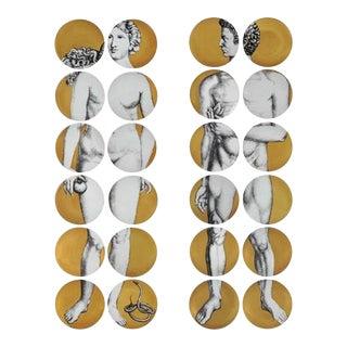 Piero Fornasetti Gold Adam & Eve Set of Twenty Four Porcelain Plates