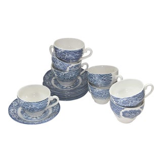 Liberty Blue Staffordshire Transfer Ware S/8 Cups and Saucers