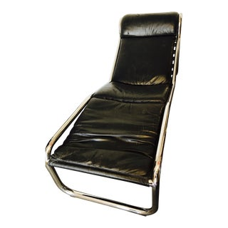 Black Leather & Chrome Wavy Chaise