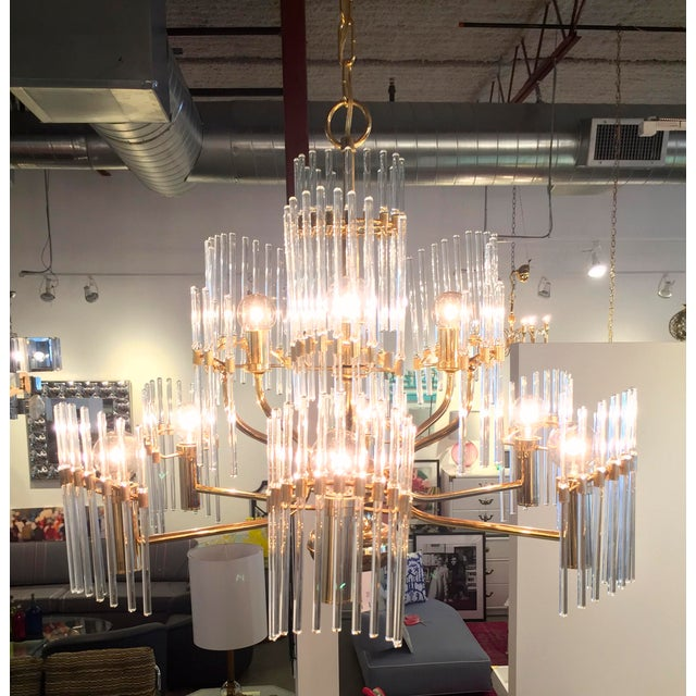 Sciolari Crystal Rod and Brass Chandelier - Image 2 of 7