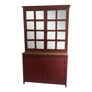 Red Farm Style 2 Piece Pine China Cabinet