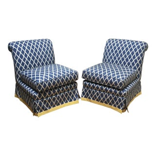 China Seas Quadrille Fabric Club Chairs - Pair