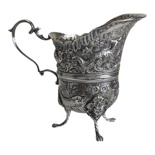 19th Century Simon Rosenau German 800 Silver Footed Milk Jug Creamer