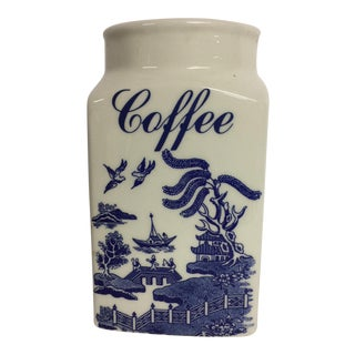 Vintage Willow Ware Ceramic Coffee Canister