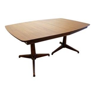 Mid-Century Danish Modern Pedestal Leg Surfboard Dining Table
