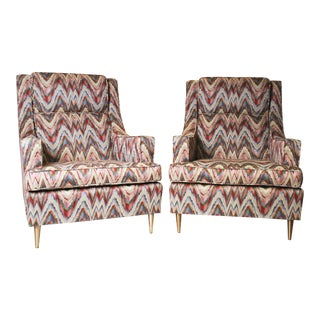 Mid-Century Modern Flame Stitch Upholstered Club Chairs - A Pair