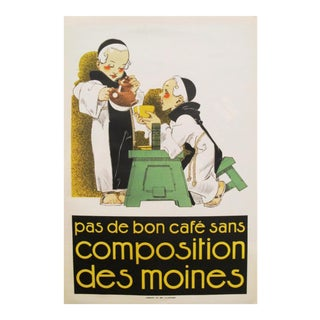 1920s French Vintage Coffee Poster, Pas de Bon Cafe