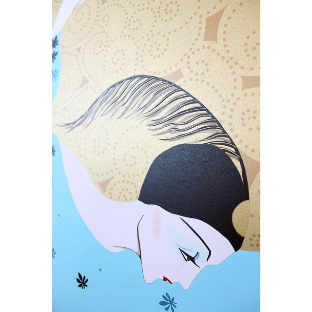 Weimar Deco Style Women Illuminated Gold Painting on Paper - Image 4 of 5