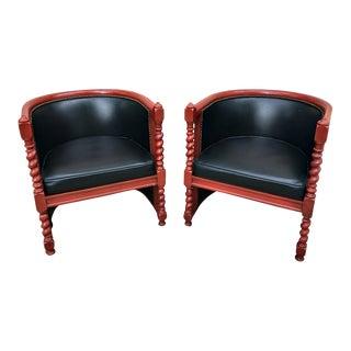 Barley Twist Club Barrel Chairs - Pair