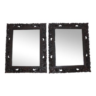 Vintage Carved Wood Mirrors - a Pair