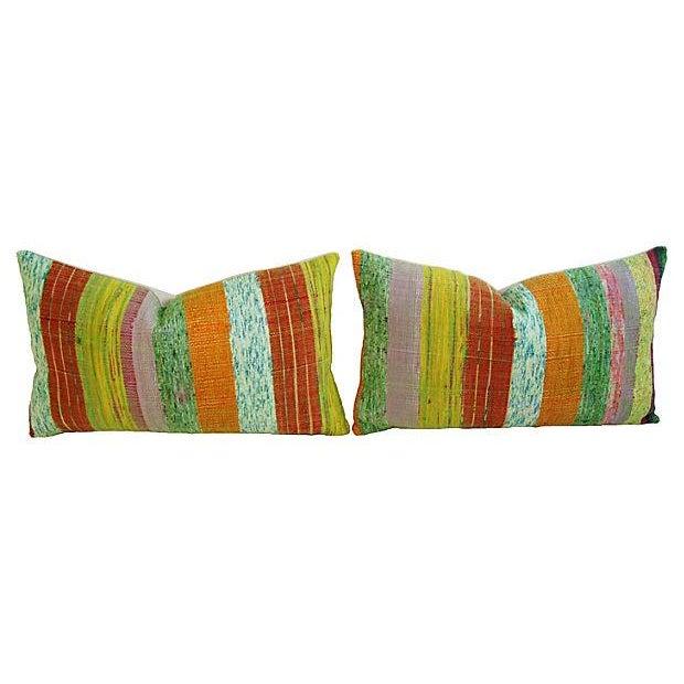 Image of Custom Hand-Looped/Tufted Chindi Pillows - a Pair