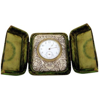 Victorian Silver Embossed Bed Side Clock by Douglas Clock Company