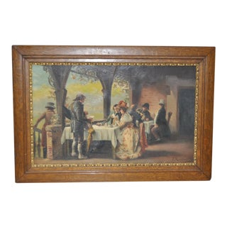 "1910 Original Antique Oil Painting ""Letters and Tea"" by S. Ruffano"