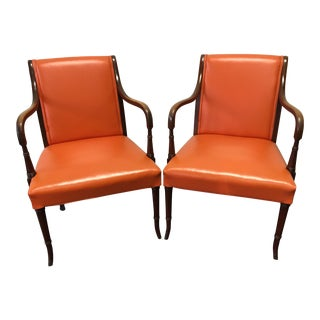 Vintage Mid-Century Orange Vinyl Chairs - Pair