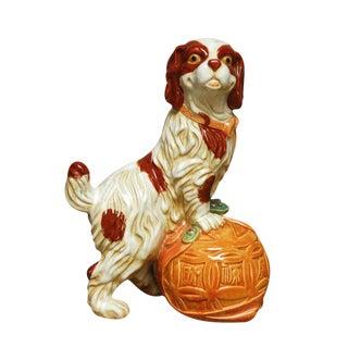 Porcelain Spaniel Dog Figurine With Ball