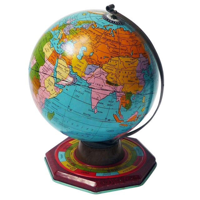 Image of Small Tin Metal Globe C.1930s