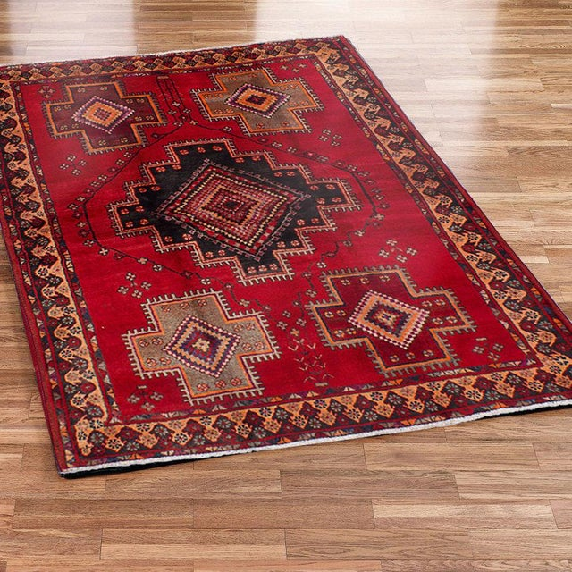 1960 39 s persian tribal red navy rug 4 39 11 x 6 39 6 chairish for Red and navy rug