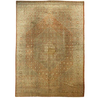 Antique Tan Tabriz Rug - 9′1″ × 13′