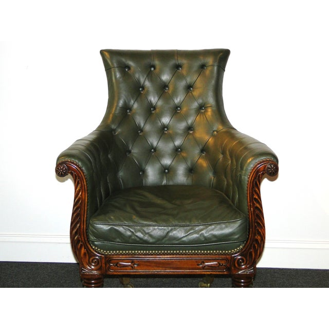 Regency Leather & Mahogany Library Chair C.1825 - Image 5 of 7