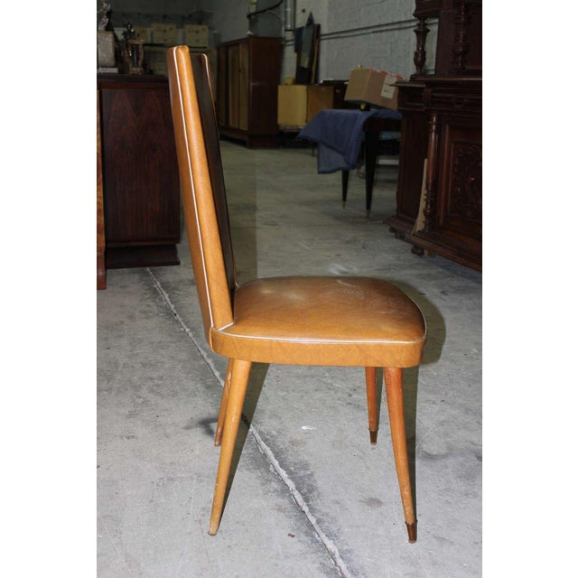 1940s Vintage French Art Deco Walnut Dining Chairs - Set of 6 - Image 3 of 7