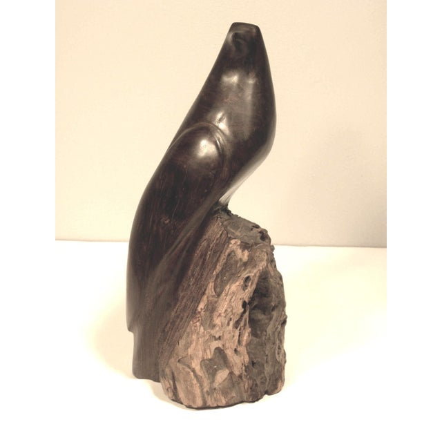 Image of Mid Century Hand Carved Wood Bird Sculpture