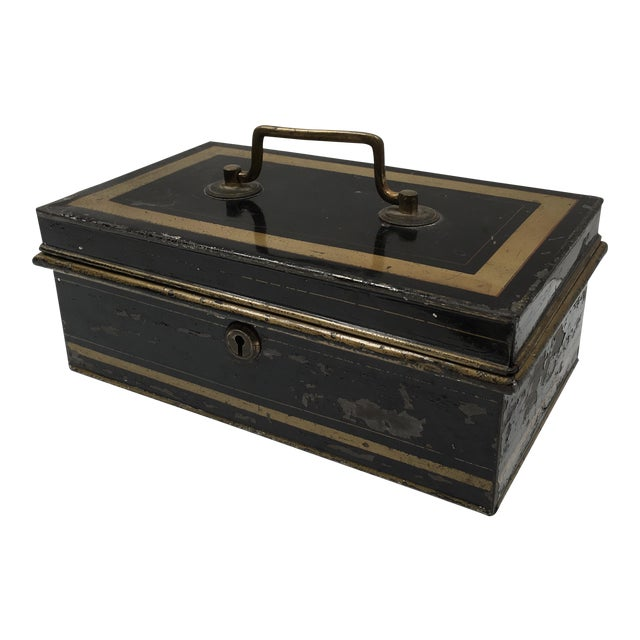 Early 1900s Antique English Metal Cash Box - Image 1 of 11