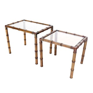 Mid Century Modern Faux Bamboo Nesting Stacking End Tables