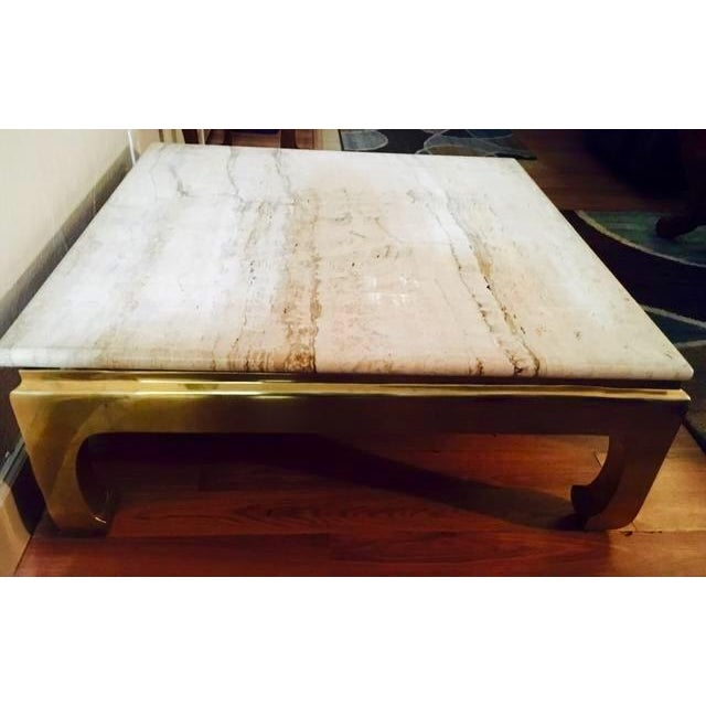 Marble Top Coffee Table With Brass Base