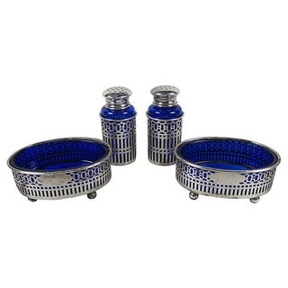 Sterling Silver Overlay Cobalt Shakers- A Pair