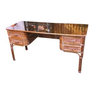 Vintage Rattan Desk With Glass Top