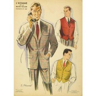 Vintage French Men's Fashion Lithograph, 1958